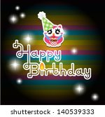 happy birthday card with cute... | Shutterstock .eps vector #140539333