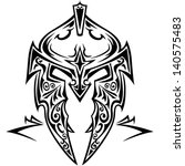 tribal vector knight helmet. | Shutterstock .eps vector #140575483