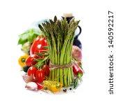 fresh vegetables on the white... | Shutterstock . vector #140592217