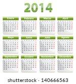 green calendar for 2014 year in ...   Shutterstock . vector #140666563
