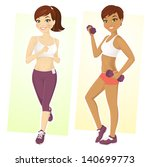 set of two sport girls working... | Shutterstock .eps vector #140699773