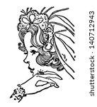 beautiful bride   retro clip... | Shutterstock .eps vector #140712943