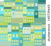 seamless city pattern | Shutterstock .eps vector #140739643