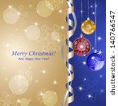 christmas background with balls ... | Shutterstock .eps vector #140766547