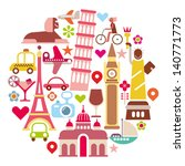 Travel - round vector illustration. Isolated icons on white background. Landmarks. - stock vector