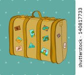 vintage travel suitcase  vector ... | Shutterstock .eps vector #140817733