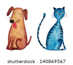 Dog And Cat.  Watercolors On...
