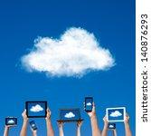 cloud computing concept. hands... | Shutterstock . vector #140876293