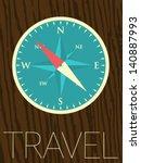 vector minimal design   compass | Shutterstock .eps vector #140887993