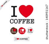 i love coffee  font type with... | Shutterstock .eps vector #140951167