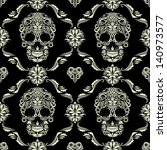 skull ornamental pattern | Shutterstock .eps vector #140973577
