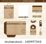 vector stationery set  coffee... | Shutterstock .eps vector #140997343