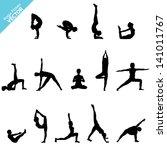 set of yoga silhouette. vector | Shutterstock .eps vector #141011767