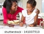 mother brings daughter sandwich ... | Shutterstock . vector #141037513