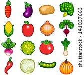various fresh vegetables icon... | Shutterstock .eps vector #141037663