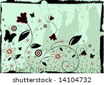 grunge floral background  with... | Shutterstock . vector #14104732