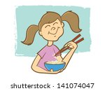 cute girl eating noodles with... | Shutterstock .eps vector #141074047