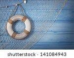 Life Buoy Decoration On Blue...