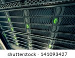 closeup on data servers while... | Shutterstock . vector #141093427