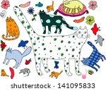 Stock vector cat world hand drawn illustration 141095833