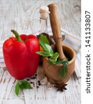mortar and pestle  with fresh... | Shutterstock . vector #141133807