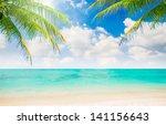 illustration beautiful beach... | Shutterstock . vector #141156643