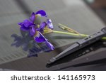 Violet Purple Iris Flower On...