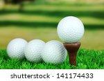 golf balls on grass outdoor... | Shutterstock . vector #141174433