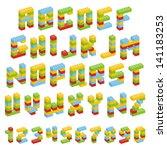 alphabet set made of toy blocks ... | Shutterstock .eps vector #141183253