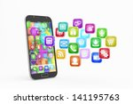 smartphone with cloud of... | Shutterstock . vector #141195763