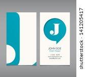 business card vector template ... | Shutterstock .eps vector #141205417