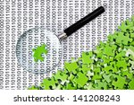 puzzles and magnifying glass on ... | Shutterstock . vector #141208243