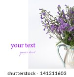 blue flower on a white...   Shutterstock . vector #141211603