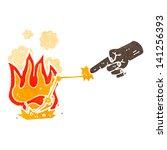 retro cartoon hand shooting... | Shutterstock .eps vector #141256393