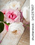 postcard with fresh flowers | Shutterstock . vector #141257857