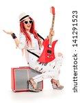 modern girl rock musician is...   Shutterstock . vector #141291523