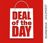 deal of the day poster with bag ...   Shutterstock .eps vector #141293557