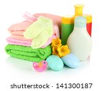 baby cosmetics  towels and soap ... | Shutterstock . vector #141300187
