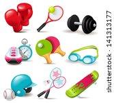 bola,beisebol,boxe,desenhos animados,coleção,coloridos,detalhado,haltere,elementos,equipamento,jogo,óculos,luvas,óculos de proteção,ginásio