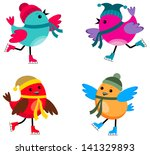 image of cartoon birds that are ... | Shutterstock . vector #141329893