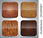 wooden icons vector set | Shutterstock .eps vector #141369367