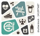 diet and fitness background... | Shutterstock .eps vector #141397687