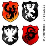 phoenix  lion eagle and dragon... | Shutterstock .eps vector #141413113