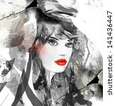 woman face. hand painted... | Shutterstock . vector #141436447
