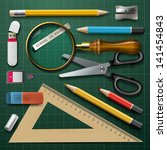 Colorful school supplies, vector illustration.
