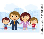family united by the hand | Shutterstock .eps vector #141483883