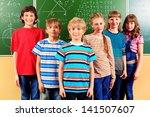 group of happy schoolchildren... | Shutterstock . vector #141507607
