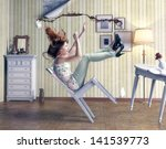 girl falls from a chair in... | Shutterstock . vector #141539773