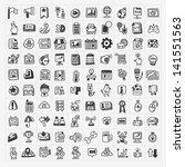 100 doodle web icons set   Shutterstock .eps vector #141551563