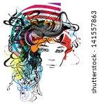 floral girl illustration | Shutterstock .eps vector #141557863